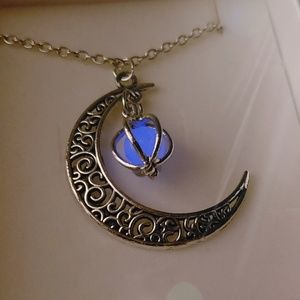 Crescent Moon Glowing Orb boho silver necklace